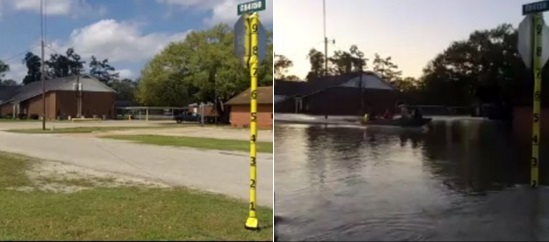 Before and after of the 2016 Deweyville flood