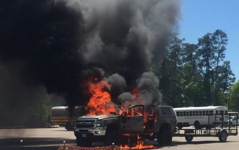 Student's truck catches fire