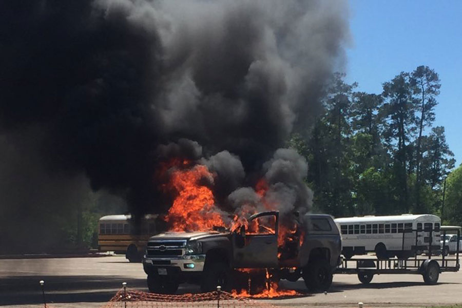 Senior Chance Stanley's truck recently caught fire on campus.