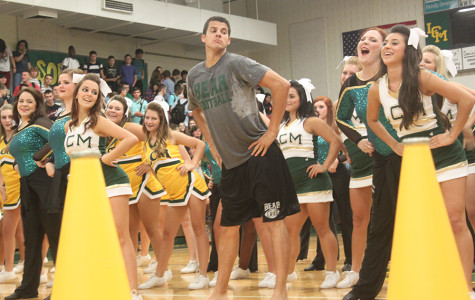 Assistant Principal Ryan DuBose gets down at the pep rally last Friday