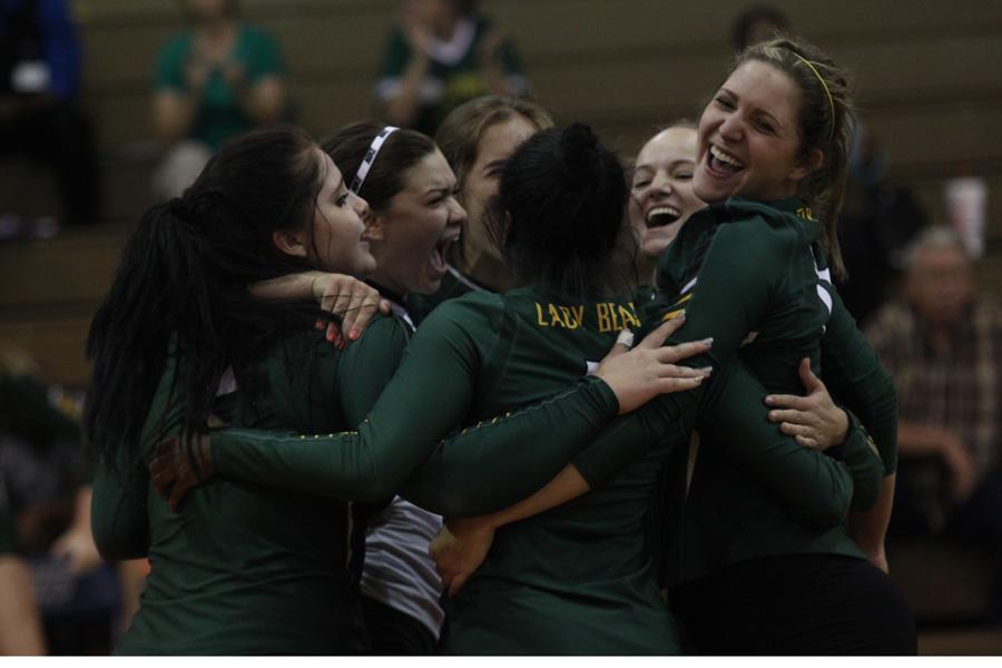 Lady Bears rejoice after win.