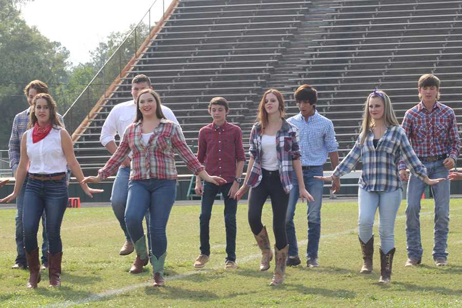 The Honey Bears perform for the crowd at the Homecoming pep rally.