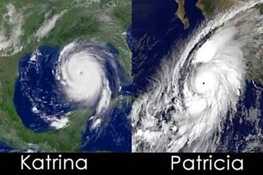 Hurricane Katrina compared to Hurricane Patricia