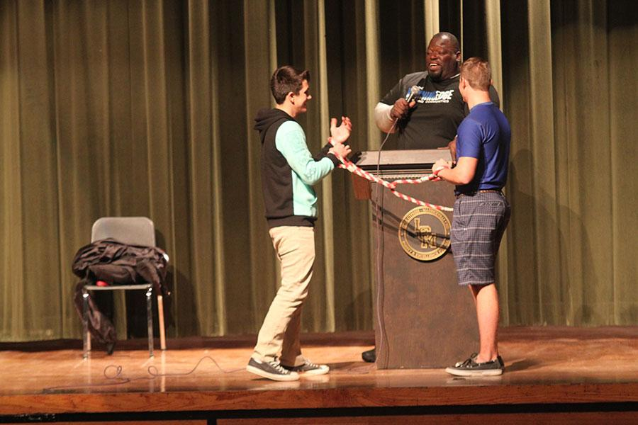 Ryan Raley and Brett Guy participate in the Winning Edge assembly.