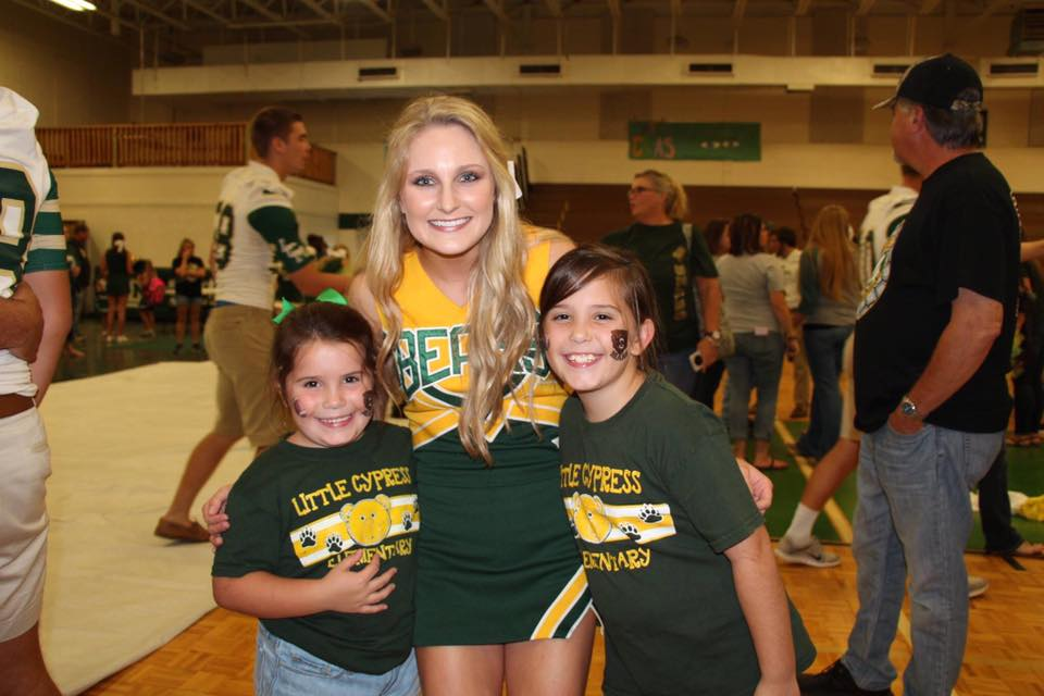 Senior Jaden Lewis and teacher Melanie Claybar's children are involved in the Bleacher Creature program.