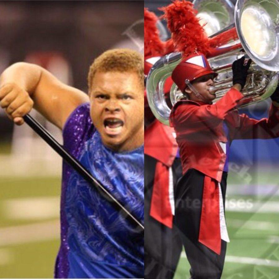 Chase+Courtier+and+Kaimen+Swanton+perform+with+the+drum+corps.+