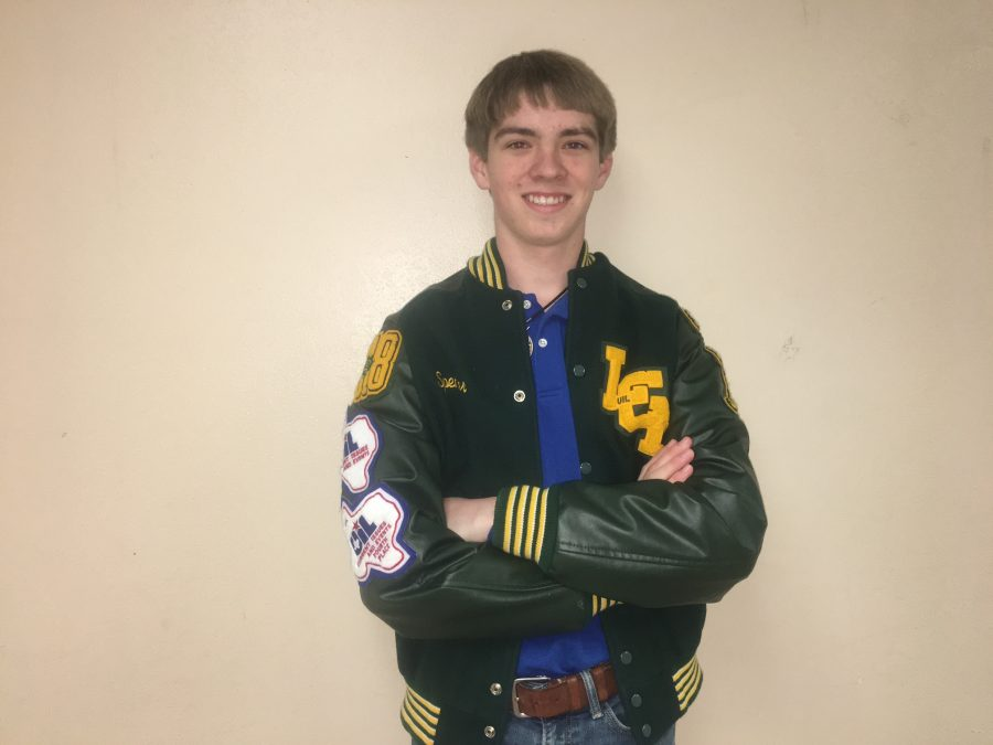 Junior+Spencer+Johns+earned+his+letterman+jacket+as+a+freshman.+