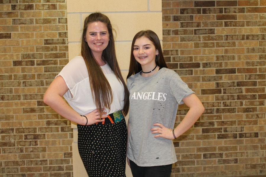 JoLynn Homin and Sydney Bowman placed in journalism events at the Port-Neches Groves  practice UIL meet.