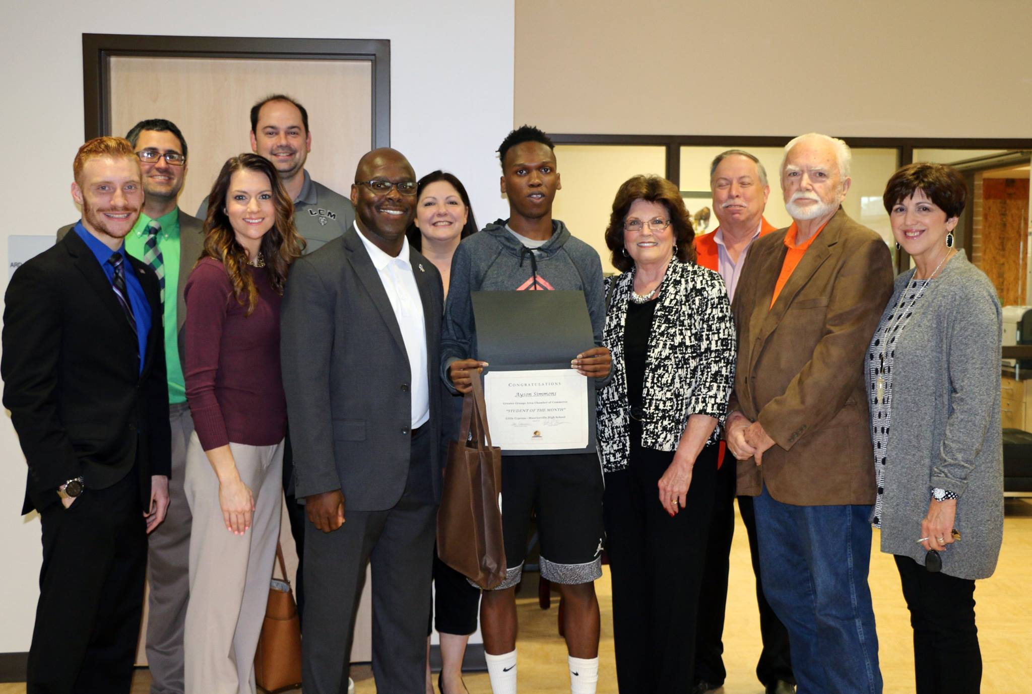 Ayson Simmons was awarded the Orange Chamber of Commerce Student of the Month.