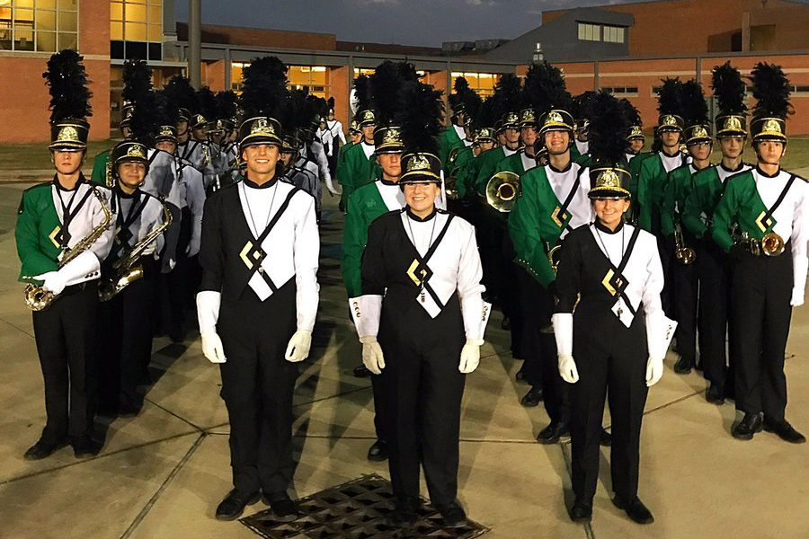 The band prepares to march onto the McNeese field before competition.