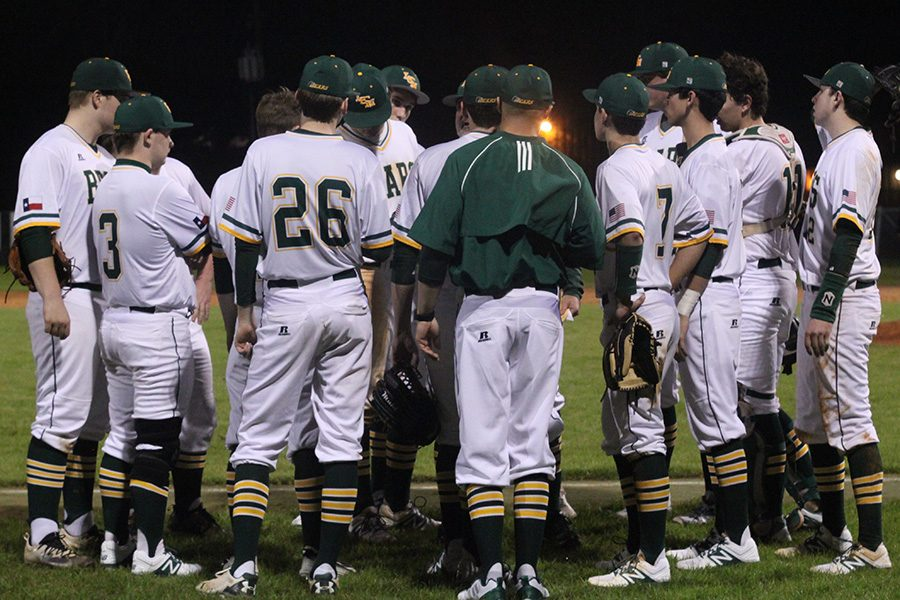 The+Bear+Baseball+team+huddles+up+after+their+game+against+Vidor.+