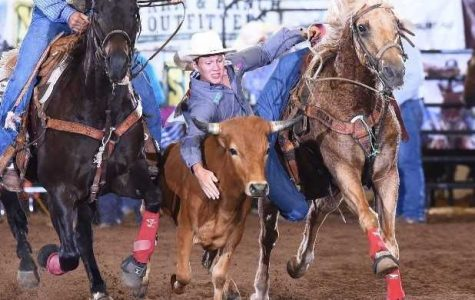 Sophomore Cade Cogbill qualifies for State in steer wrestling.