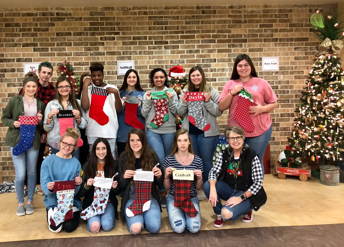 Babs Foster's fashion design class recently sewed their own Christmas stockings.