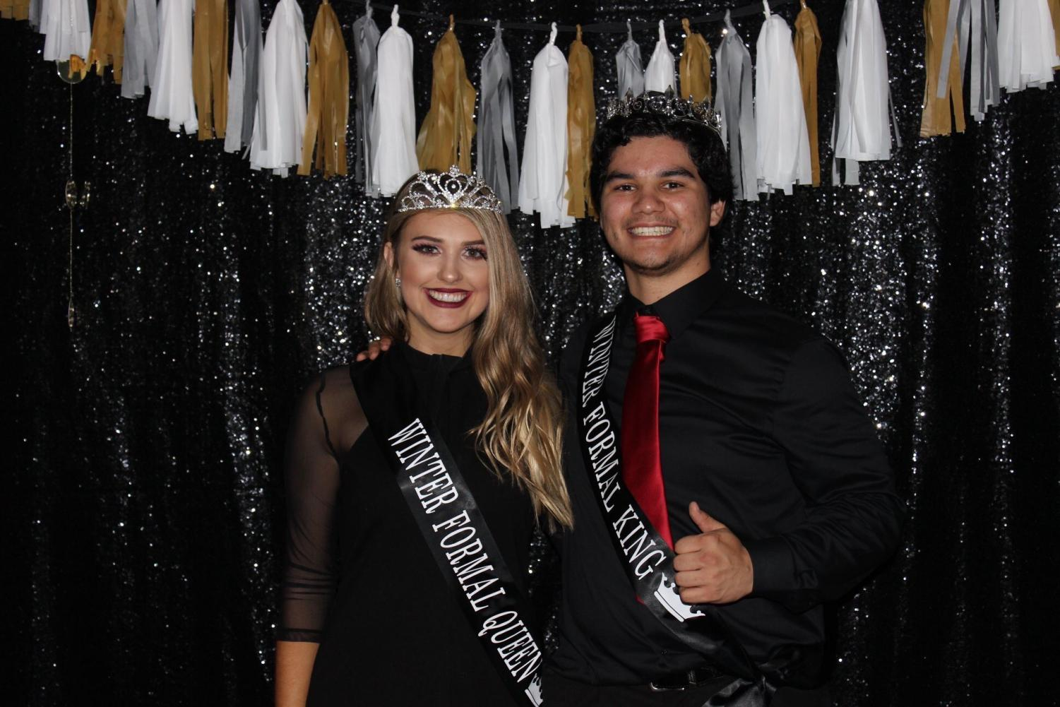 Seniors Monterey Valladares and Rachel Belcher were crowned king and queen at the Winter Formal.