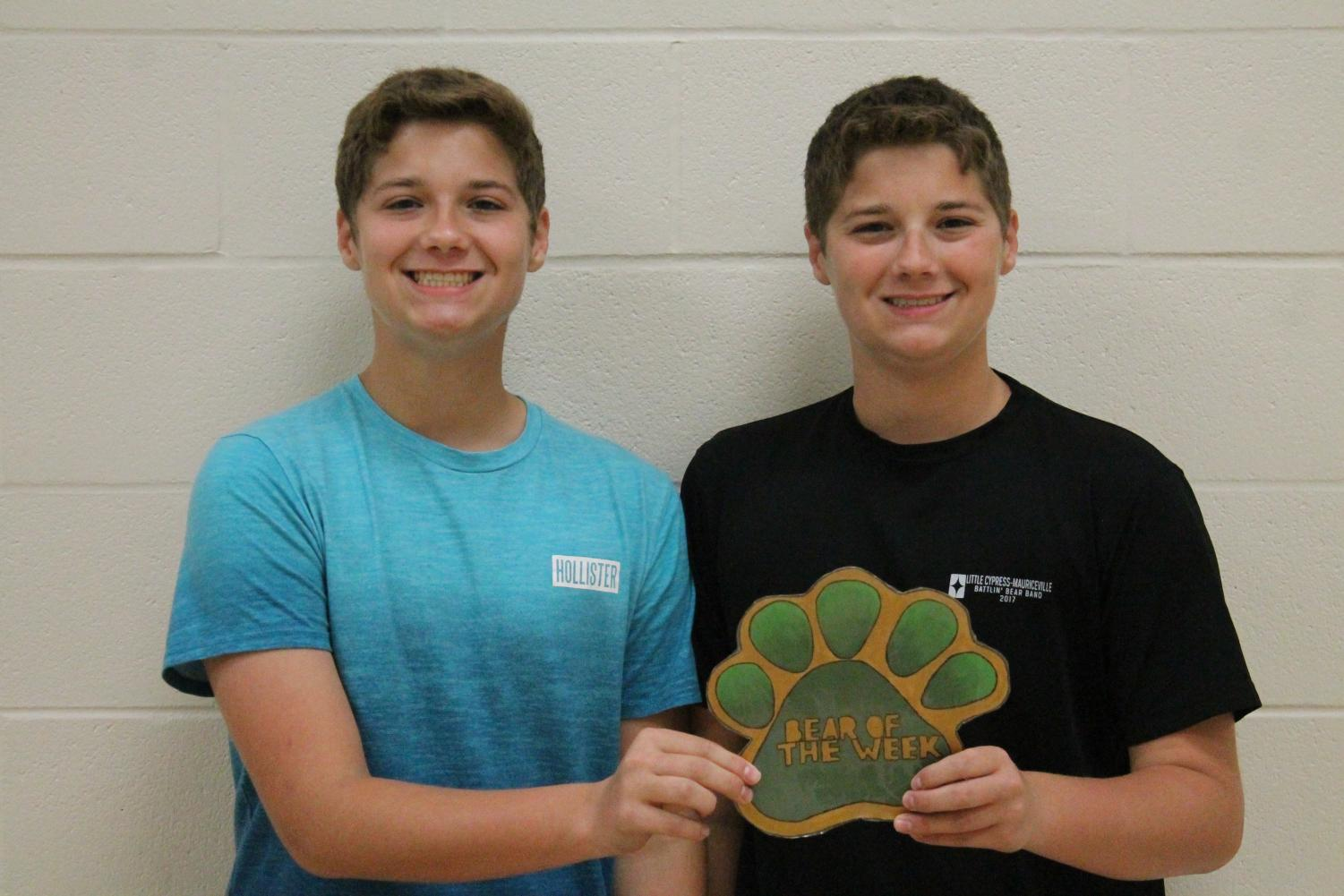 Juniors Brennan and Jonathan Roy are involved in the Battlin' Bear Band and UIL Academics.