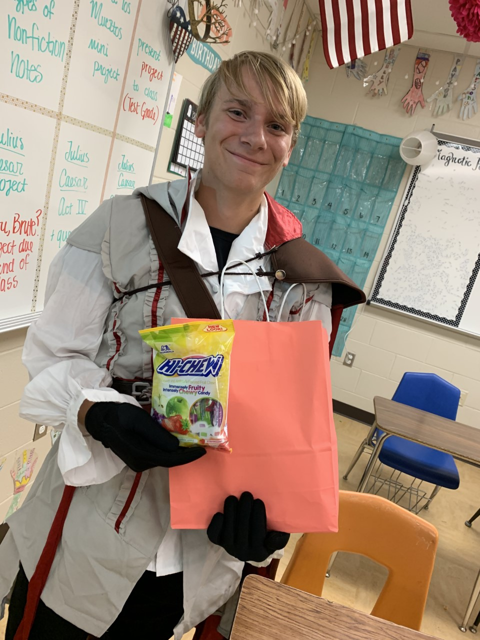Junior Jace Peveto shows off his prize for the best costume.