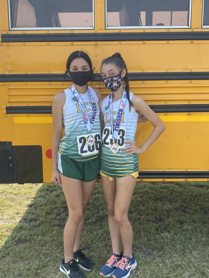 Freshman Karlie Seymour (left) placed 10th and sophomore Annabelle Fisher (right) placed 1st.