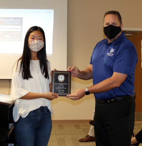 "Junior Tracy Qi was presented as the ""Sophomore of the Year"" for 2019-2020 by Kiwanis Club President Shane Johns."