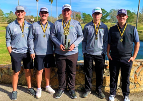 The boys golf team brought home first at the Vidor tournament yesterday.