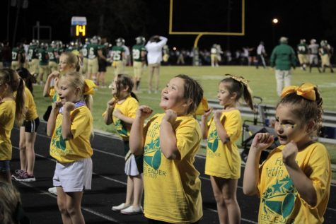 Last years cheer clinic attendees performed for the fans at a Battlin Bear Football game.
